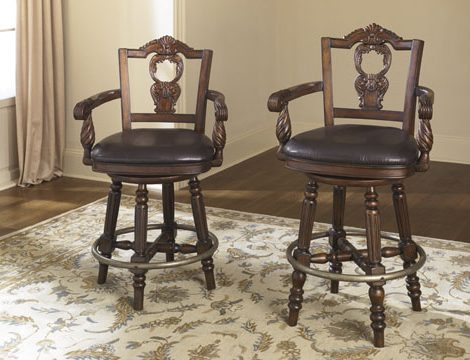 ashley furniture larchmont bar stools north shore dining room stool parts